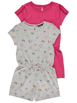 Pink and Grey Rainbow Print Playsuits 2 Pack