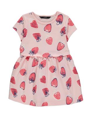Pink Strawberry Print Jersey Dress
