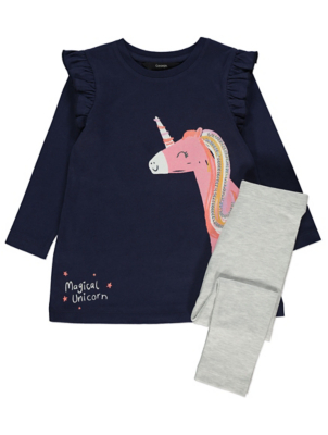 Navy Unicorn Glitter Top and Leggings Outfit