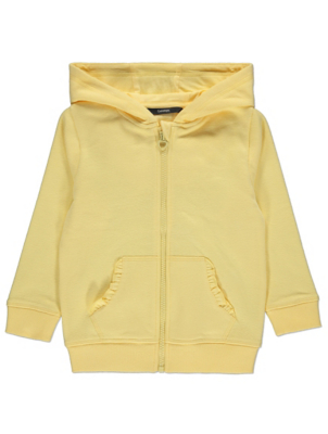 Lemon Yellow Frilled Pocket Zip Through Hoodie