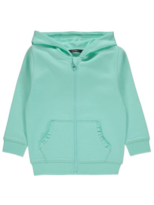 Mint Green Frilled Pocket Zip Through Hoodie