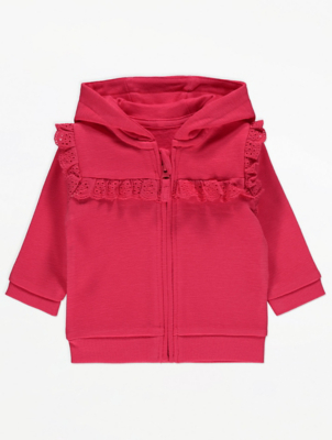 Pink Broderie Anglaise Zip Up Hoodie