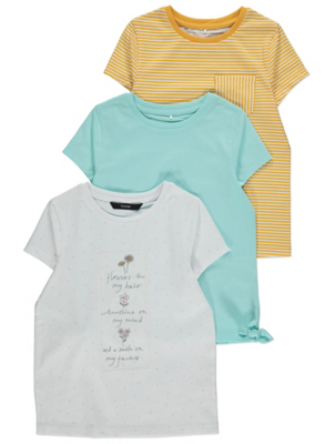 Blue Flower Slogan Cotton T-Shirts 3 Pack