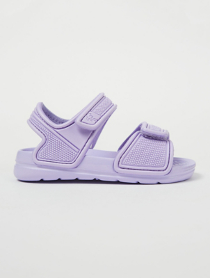 Lilac Textured 2 Strap Sandals