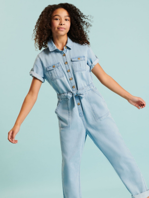 Light Wash Denim Cotton Utility Jumpsuit