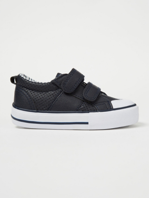 Navy Contrast Trim White 2 Strap Trainers