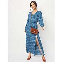 Teal Polka Dot Long Sleeve Maxi Dress by Asda