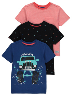 Assorted Monster Truck Cotton T-Shirts 3 Pack