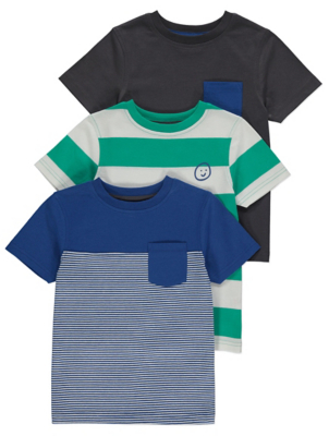 Assorted Striped Cotton T-Shirts 3 Pack