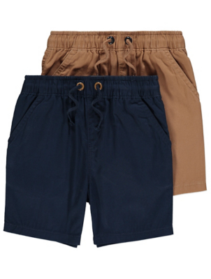Navy Woven Cotton Shorts 2 Pack