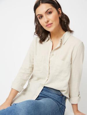 Stone Linen Blend Shirt