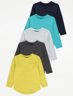 Pocket Detail Long Sleeve T-Shirts 5 Pack
