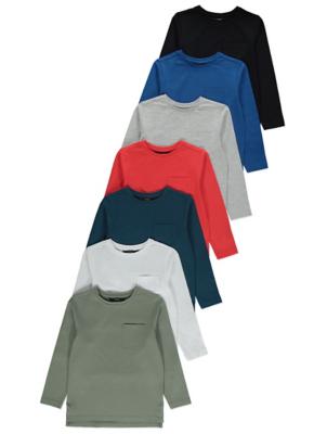 Pocket Detail Long Sleeve T-Shirts 7 Pack