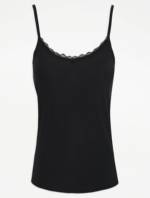 Black Lace Trim Camisole Vest