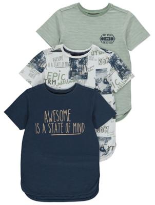 Curved Hem T-Shirts 3 Pack