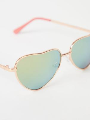 Rose Gold Effect Mirrored Heart Sunglasses