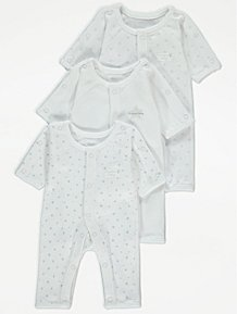 New Adult White Star Print 100/% Cotton Sleepsuit Baby Gro All In One