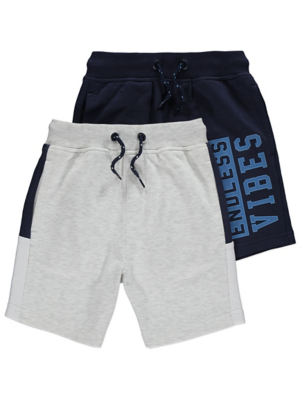 Grey and Navy Jersey Shorts 2 Pack