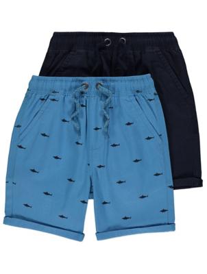Navy Shark Print Woven Shorts 2 Pack