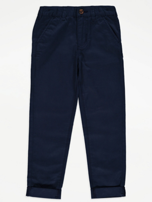 Navy Chino Adjustable Waistband Trousers