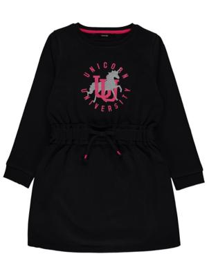 Black Glitter Unicorn University Sweatshirt Dress