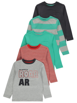 Assorted Striped Long Sleeve T-shirts 5 pack