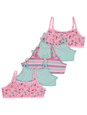 Pink Patterned Crops Tops 5 Pack