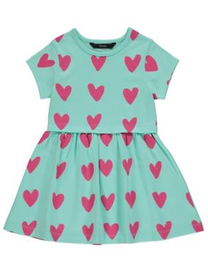 Mint Heart Print Jersey Dress