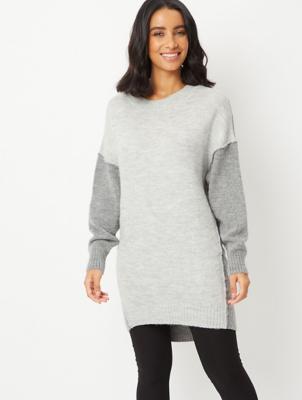 Grey Contrast Knit Tunic Jumper