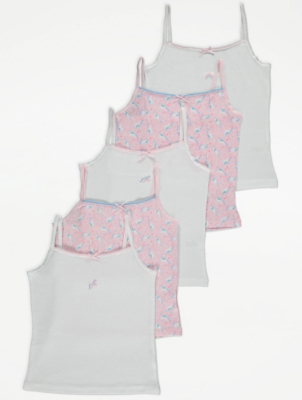 White and Pink Unicorn Cami Vests 5 Pack