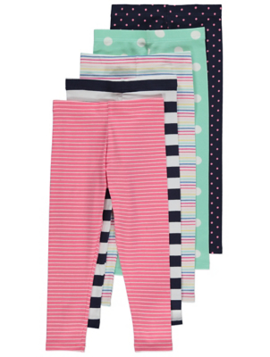 Polka Dot and Stripe Leggings 5 Pack