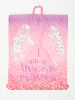 Pink Unicorn Princess Slogan Glitter Wings Trainer Bag