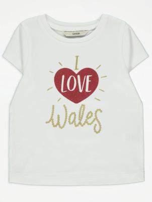 White Glitter I Love Wales T-Shirt