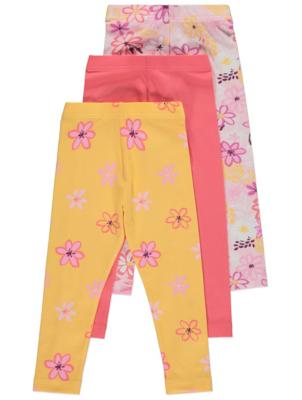 Yellow Floral Leggings 3 Pack