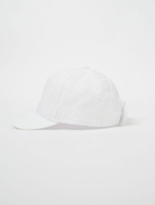 White Heart Embroidered Cap