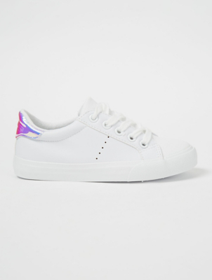 White Iridescent Trim Cup Sole Trainers