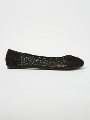 Black Crochet Mesh Ballet Shoes