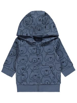 Blue Teddy Bear Print Zip Up Hoodie
