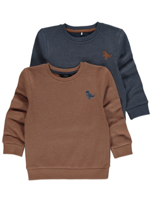 Brown and Navy Dinosaur Emblem Sweatshirts 2 Pack