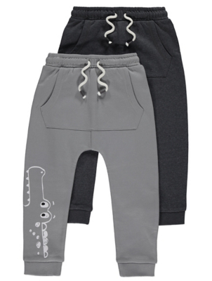 Grey Pouch Pocket Joggers 2 Pack
