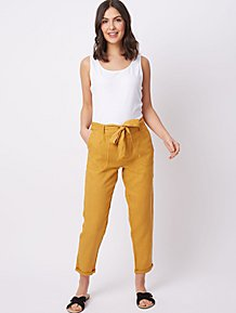 Womens Capri Cargo Cropped Trousers Tapered Chinos Ladies Bottoms Pants 10-24