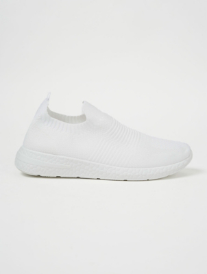 White Knitted Slip On Sports Trainers
