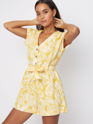 Yellow Floral Square Button Playsuit