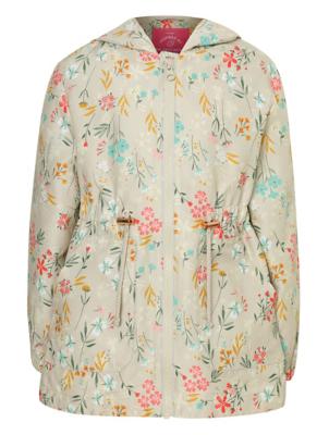 Beige Floral Hooded Shower Resistant Mac