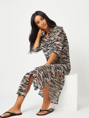 White Zebra Print Longline Swim Cover Up