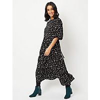 Black Abstract Polka Dot Tiered Midaxi Dress by Asda