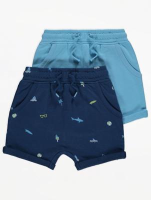 Blue Shark Print Jersey Shorts 2 Pack