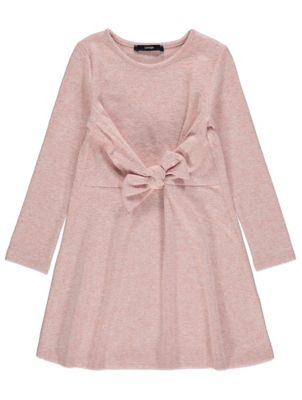 Pink Knitted Tie Front Dress