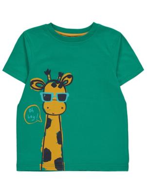 Green Giraffe Print Short Sleeve T-Shirt