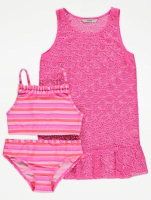 Pink Crochet Cover Up and Bikini 3 Piece Set